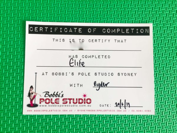 certificate of completion by Bobbi's pole studio
