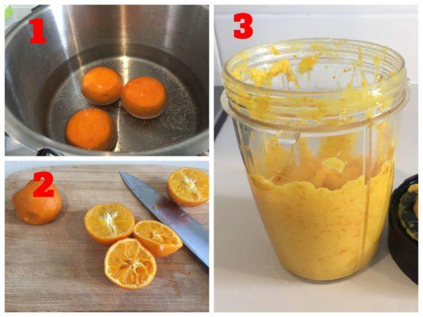 オレンジを茹でて、種を取りピューレにするまでの手順