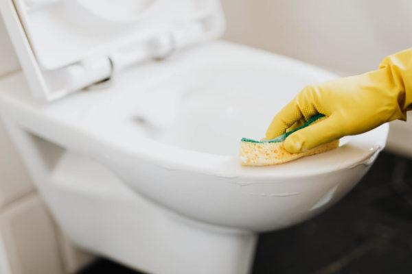 トイレの便器を磨く様子