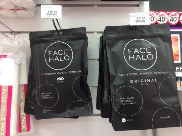 メイクアップリムーバーパッドFACE HALOが店頭に並ぶ様子