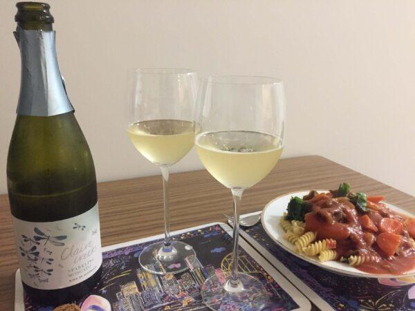ワインとパスタ料理